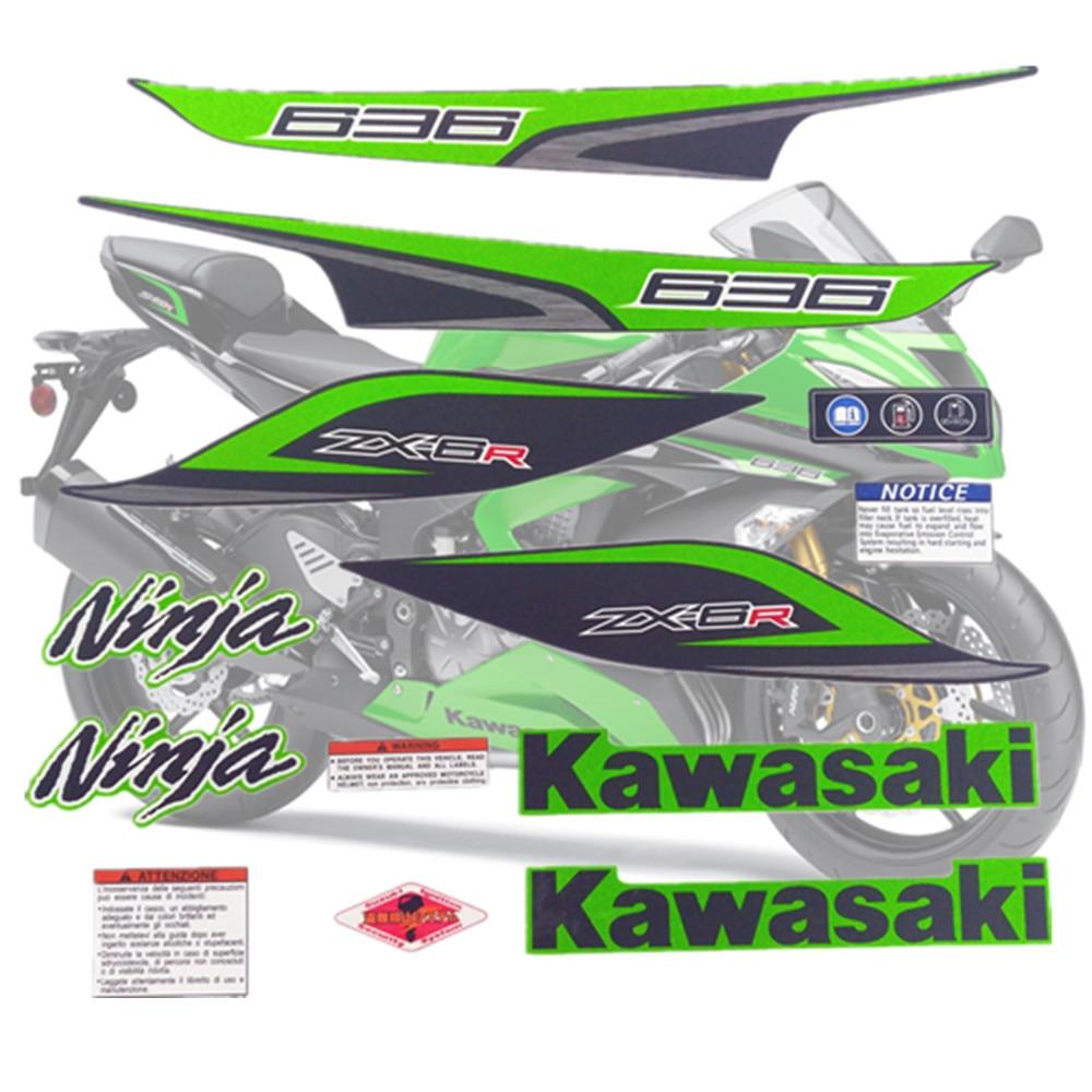 Motorcycle For Kawasaki NinjaZX6R 13 Ninja ZX 6R 2013 ZX6R Sticker Fairing Kit Applique High Quality Whole Vehicle Decal