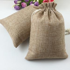 Image 1 - 60pcs Jute Bags Natural Burlap Hessia Gift Bags Wedding Party Favor Pouch Drawstring Jute Gift Bag Packaging Bag Storage Travel
