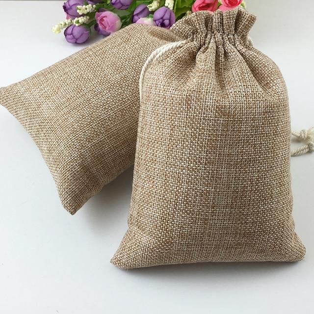 60pcs Jute Bags Natural Burlap Hessia Gift Bags Wedding Party Favor Pouch Drawstring Jute Gift Bag Packaging Bag Storage Travel