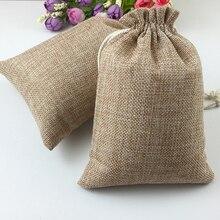 60pcs Jute Zakken Natuurlijke Jute Hessia Gift Bags Wedding Party Favor Pouch Koord Jute Gift Bag Verpakking Zak Opslag reizen