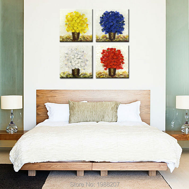 4 Panels Four Colour Flower Canvas Painting Giclee Artwork Flower Oil Paintings Printed Wall Art For Home Decor (Wooden Framed)