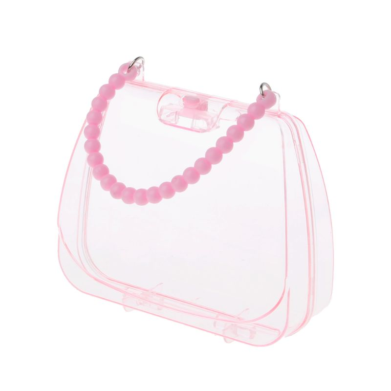 Sweet Pink Baby Girls Transparent Handbag Jewelry Box Organizer Portable Storage