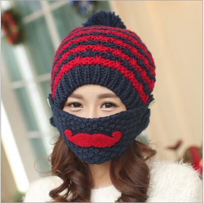 عالية الجودة الأزياء اليدوية الحياكة قبعة إضافة الصوف في الشتاء للتدفئة غطاء للأذنين أقنعة الشارب MS قبعة محبوك القبعات النسائية