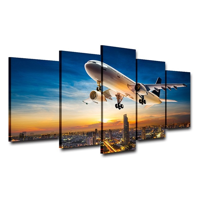 HD Print Airplane 5pcs. Canvas Frame Oil Painting
