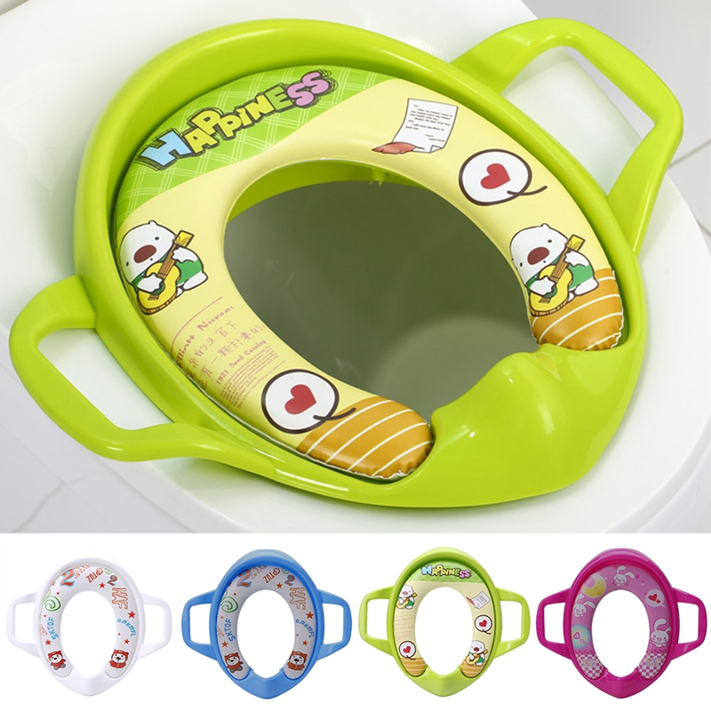 1pc Baby Soft Toilet Training Seat Cushion Child Seat With Handles Baby Toilet Seats Pedestal Pan