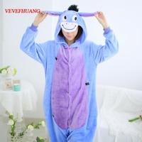 VEVEFHUANG Cartoon Animal Cosplay Eeyore Donkey Onesies Pajamas Jumpsuit Hoodies Adults Cosplay Costume Pijamas For Men