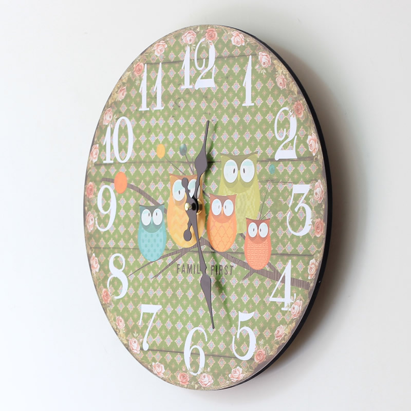the wall clock in the kitchen home furnishing garland five owl painted wood clock in wall clocks from home garden on aliexpresscom alibaba group