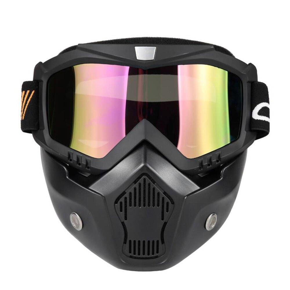 4a52fda7e17eb Mortorcycle Máscara Destacável Óculos e Boca Do Filtro para o Rosto Aberto Capacete  Motocross Ski Snowboard