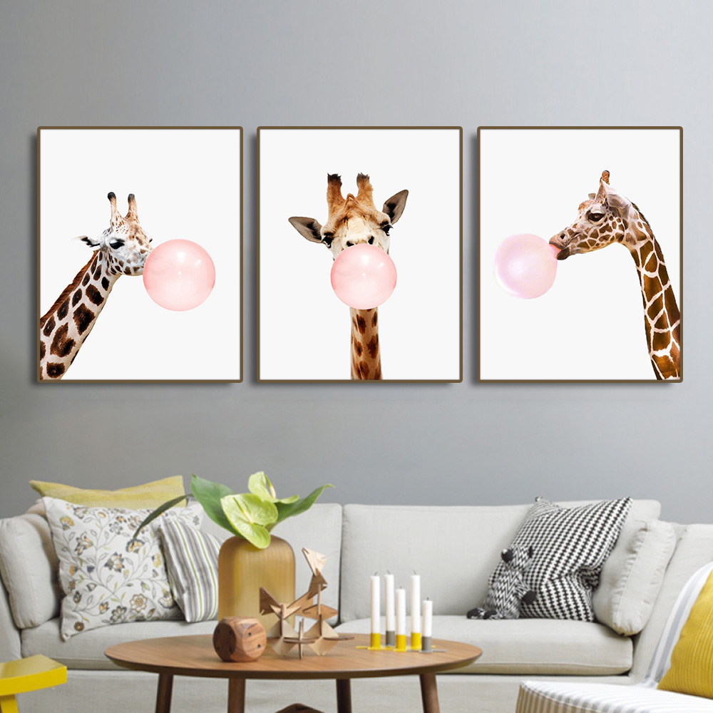 Giraffe Bubble Gum Nordic Poster Canvas Painting Calligraphy Prints Picture For Living Room House Wall Decor Art Home Decoration in Painting Calligraphy from Home Garden