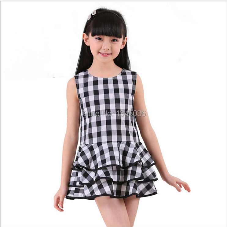 &E-babe&Wholesale NEW European and American Style Teenage Girl Brand Summer Plaid Princess Dress Toddler Kids Children Clothing