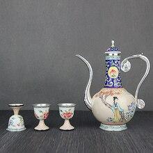 High-end painting enamel sterling silver tea set 999 jug handmade wine glass antique
