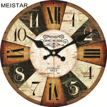 hot deal buy meistar decorative wooden wall clocks brief design silent home cafe office wall decoration clocks art retro style wall clocks