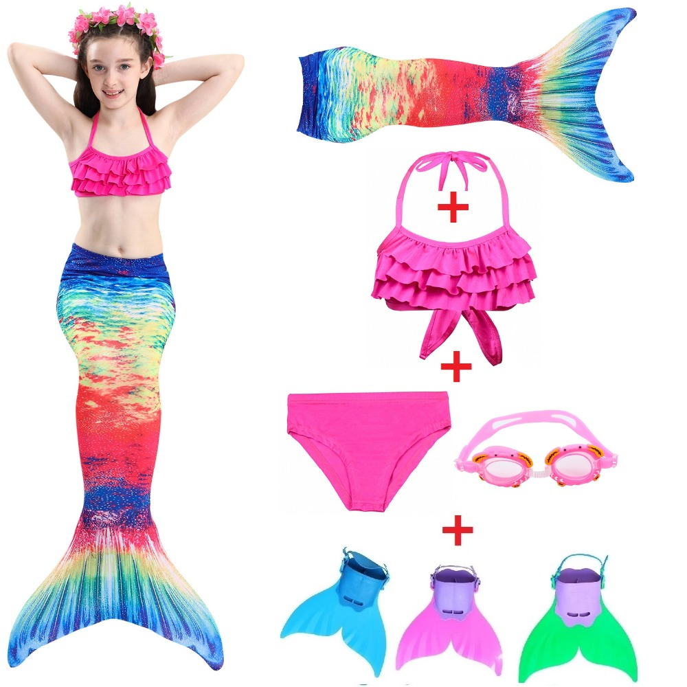 Mermaid Tail Cosplay Little Mermaid Tails with Fin for Swimming Costume Girls Swimsuit Kids Children Swimmable suit Monofin