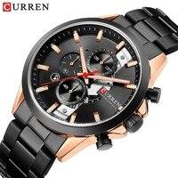 CURREN Luxury Brand Men Watches Chronograph Men Sports black Watches Waterproof Full Steel Quartz Men's Watch Relogio Masculino