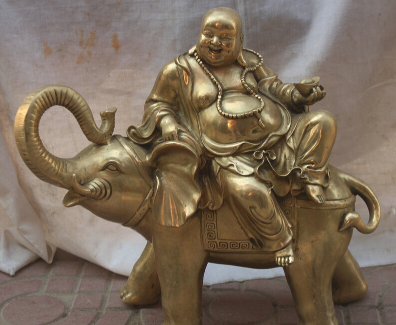 150610 S1528 17 Chinese Folk Feng Shui Brass Happy Laugh Maitre Buddha On Elephant Statue150610 S1528 17 Chinese Folk Feng Shui Brass Happy Laugh Maitre Buddha On Elephant Statue
