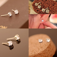 wholesale Silver Plated jewelry New Fashion 4mm 5mm Rhinestone accessories Hot Sale Luxury Zircon Stud Earrings Er201(China)