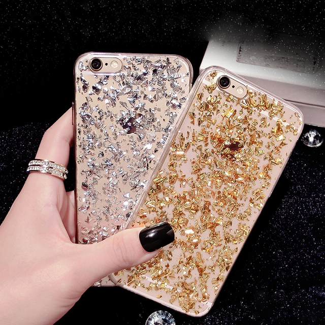 sale retailer 382f4 4f669 US $2.2 38% OFF Luxury Gold Bling Phone Case For iPhone X 8 7 6 6S 8Plus  7Plus 5 5S SE Paillette Sequin Skin Clear Soft TPU Slim Back Cover-in ...