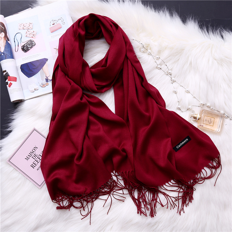 2018 women scarf solid cashmere scarves lady shawls and wraps winter head scarf pashmina long size foulard hijab wholesale
