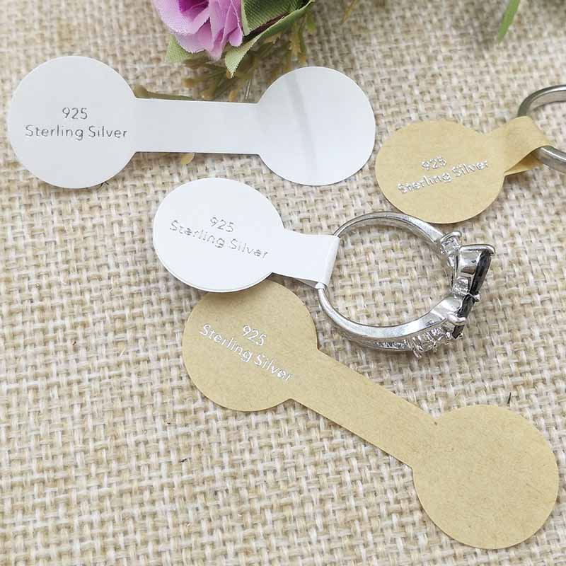 100pcs  925 Sterling Silver Ring Label Sticker Label For Jewelry  Necklace /Bracelet/Pendant Price Tag 58X20MM 999Golden Foil