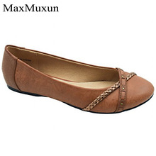 MaxMuxun Hot Spring Autumn Leather Shoes Woman Flats Work  ballet flats Fashion slip on Female Casual Ballet Ladies Shoes недорого