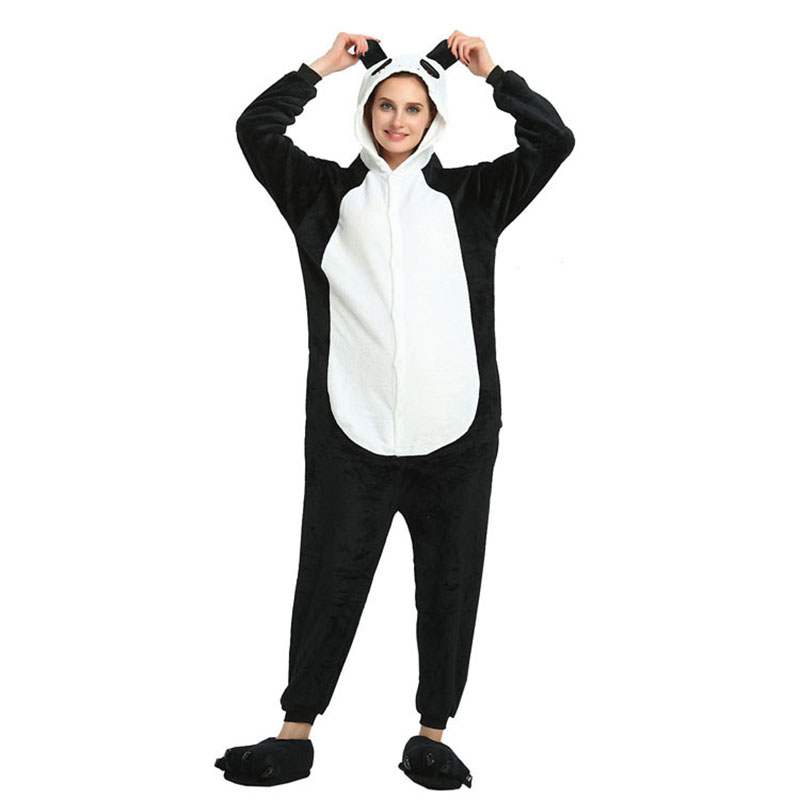Kigurumi Panda Pajamas Adult Cartoon Onesies Animal Cosplay Costume Unisex Fancy Pocket Hoodie Home Service