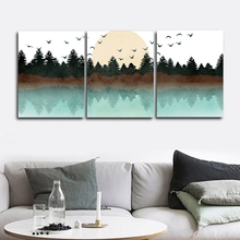 Forest and Birds Nordic Wall Picture Poster Print Canvas Painting Calligraphy Decor for Living Room Bedroom Home Frameless