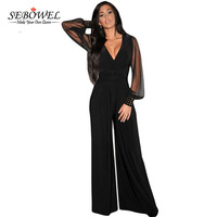 SEBOWEL Long Black Rompers Womens Jumpsuit Winter Autumn Party V Neck Embellished Cuffs Mesh Sleeves Loose