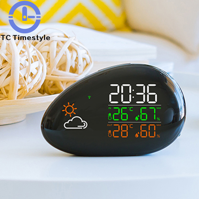 Digital Alarm Clock Watch Electronic Table Alarm Clock Kids Temperature and Humidity Display 12 Hour or