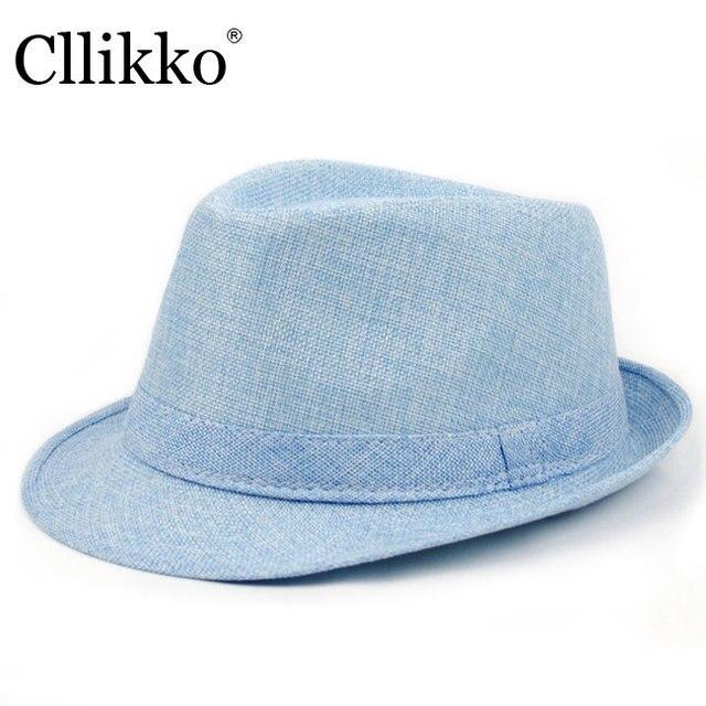 Cllikko Chapéu Do verão Para Homens Summer Beach Cap Chapéu de Sol homens  Trilby Gangster Palha 0a99be4f05f