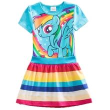 Summer Girls Dress Children Clothing Fashion Cotton Girl little Pony Dresses Cartoon Princess Party Costume Vestido Kids Clothes недорого