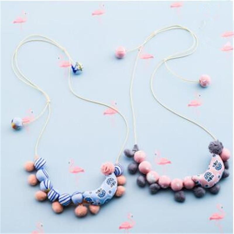 Korea Handmade Cute Plush Ball Fabric Print Moon Children Necklace For Girls Kids Apparel Accessories-HZPRCGNL031F