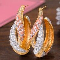 SISCATHY 3Tone Trendy Women Earrings Hyperbolic Ear Jewelry AAA Cubic Zirconia Inlaid Hoop Earrings boucle d'oreille femme 2019