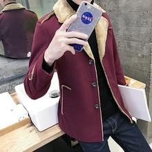 Зимняя мода повседневная более толстый тонкий мужчины парки хлопка мягкой молнии куртка с шерсти балахон