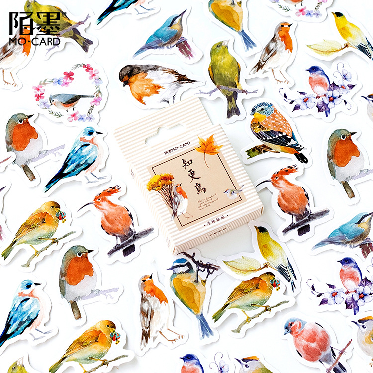 45 Pcs/box Cute Birds Adhesive Stickers Decorative Album Diary Stick Label Decor Stationery Stickers