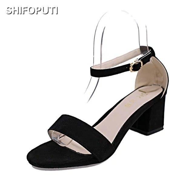 SHIFOPUTI 2018 New Summer Women Sandals Open Toe Flip Flops Womens Sandles Thick Heel Women Shoes Korean Style Gladiator Shoes