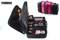 Multilayer Toolbox Suitcase Women Cosmetic Organizer Makeup Box Large three layer Bag Professional Cosmetic Case Beauty Vanity