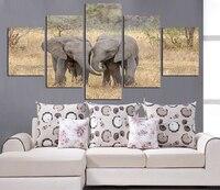 Ölgemälde arbeitet feld zwei elephant tiere spielen bild leinwand bild schmuck kind zimmer wohnzimmer wohnkultur FA216
