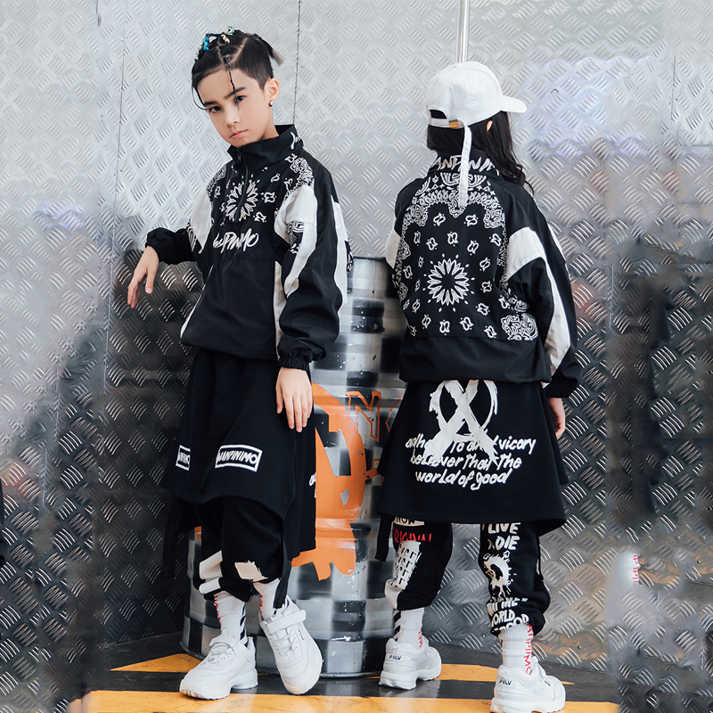 Hip Hop Dance Costume Jazz Costumes Boys Street Dance Clothing Girls Jacket Pants Kids Stage Show Dancing Outfit Clothes DQS1476