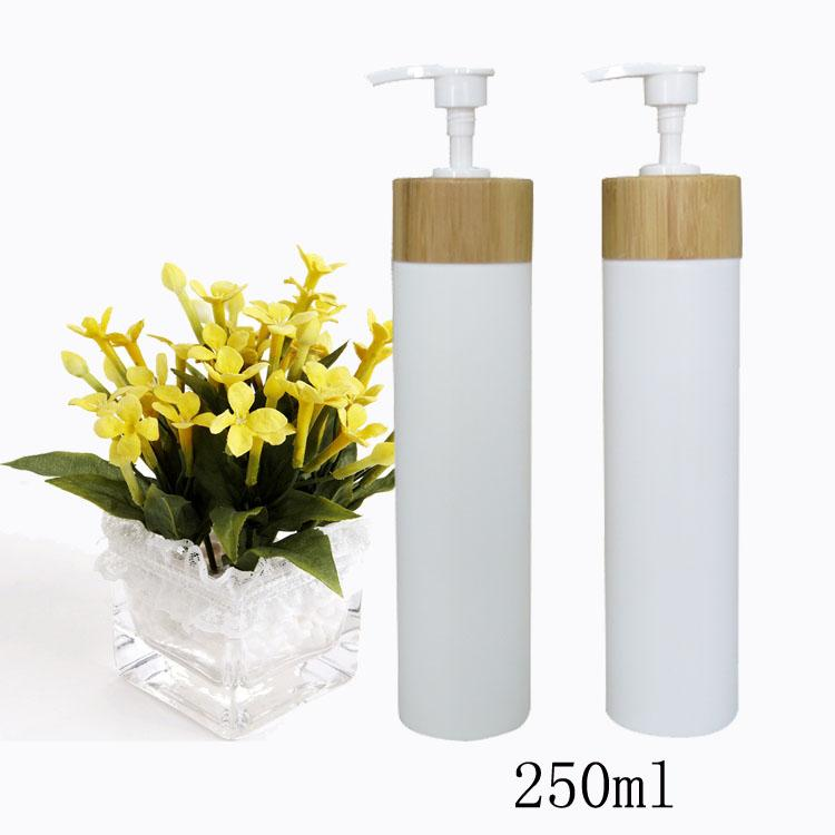 free shipping 250ml 10pcs/lot white PE press emulsion bottle,lotion bottle with bamboo emulsion pump head (shampoo/body wash) 10 50pcs 18 24r white black clear plastic powder press pump head nozzle for cosmetic lotion emulsion bottle with clear full cap
