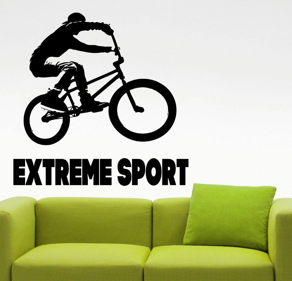 Bmx sticker sports extr mes stickers muraux noir freestyle for Bmx bedroom ideas