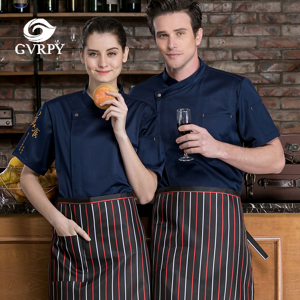 Summer Unisex Short Sleeve Patchwork Chef Uniform High Quality Chef Cooking Jacket Catering Service Hotel Waiter Work Shirt