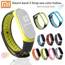 Para xiaomi mi banda cinta 3 3 banda Inteligente pulseira Pulseira de tiras de Substituição xiaomi mi 3 band3 3 duas cores pulseira de Ventilação buraco
