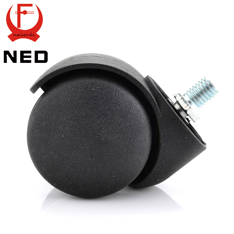 5PCS NED 2 Universal Casters Black Mute 360 Degree Swivel Screw Thread Wheels For Office Chair Home Stool Furniture Hardware screw rod 2 inches plastic casters 50mm thread swivel wheels black