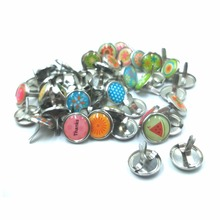 Epoxy Fixed Nail Round Metal Pearl Brads Resin Scrapbooking Embellishment DIY Jewelry Random Color Sewing Accessories Thumbtack