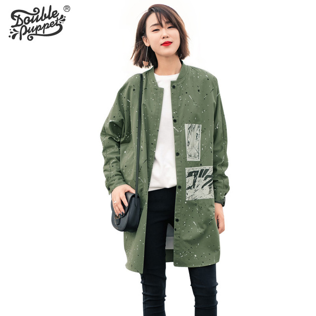Double puppet 2017 spring autumn Korean version pure cotton cardigan casual long full sleeve coats print Jackets women 363008