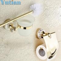 Free Shipping Gold Color Bathroom Accessories Set Paper Holder Toilet Brush Holder Bathroom Sets YT 10900