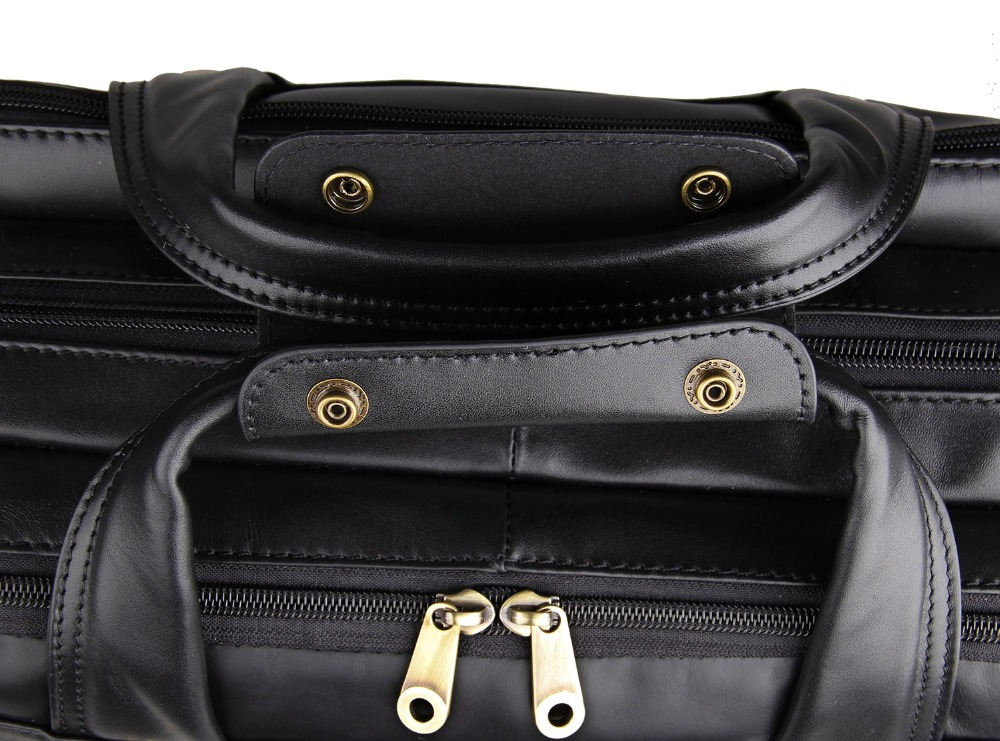 7146A JMD 100% Genuine Cowhide Oily leather Men's Hand Travel Briefcases Messenger Bag