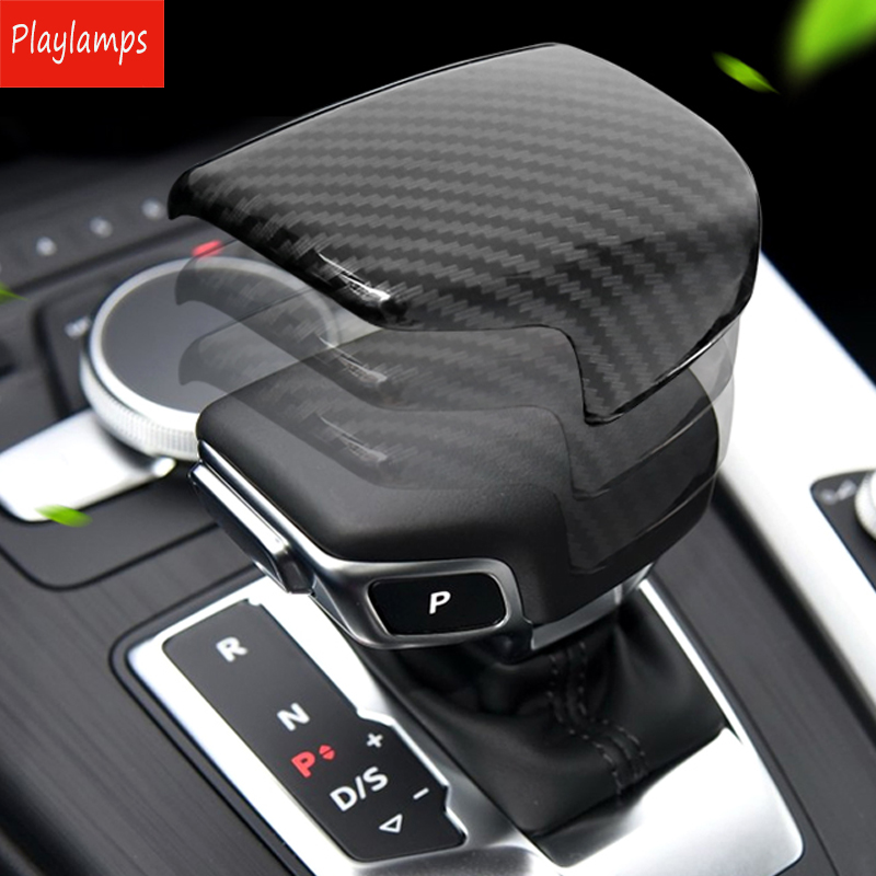 Car Styling For Audi A5 A4 B9 Q7 A7 Gear Shift Handle Protection Stickers For Audi Carbon Fiber ABS Covers Auto Accessories