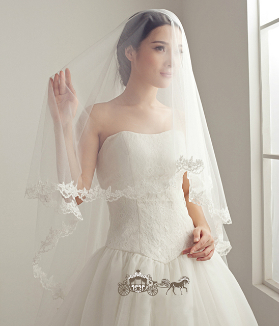 "118"" Aesthetic Elegant High Quality Soft Bridal Veils lace mantilla White Cathedral Length Wedding Veils Veu De Noiva"