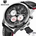 BENYAR Aviator Chronograph Mens Watch Military Sport Wristwatches Top Brand Mens Luxury Quartz Genuine Leather Band 24H Dispaly